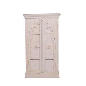 Blanc Indian Solid Wood Hand Carved Storage Cabinet With Arch Doors
