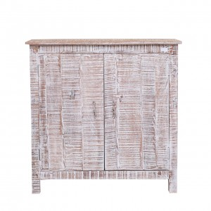 Rustica Indian Reclaimed Wood Small Buffet Storage Cabinet White