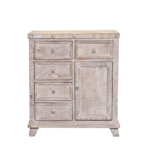 Rustica Indian Reclaimed Wood Chest Of Drawers With 5 Drawers White