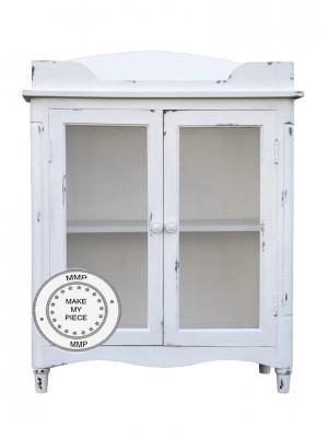 Indian Solid Mango Wood glass door Cabinet White