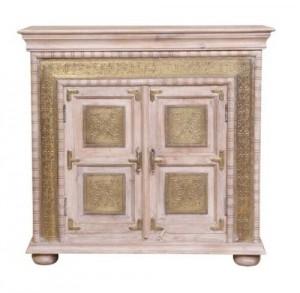 Antique Indian Brass Work Sideboard Whitewash