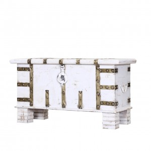 Cromer Indian Solid Wood Trunk Storage Box White