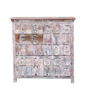 Rustica Whiter White Distressed Reclaimed Wood 10 Drawer Dresser