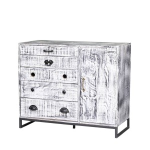 Rustica Indian Reclaimed Wood Chest Of Drawers Whitewash