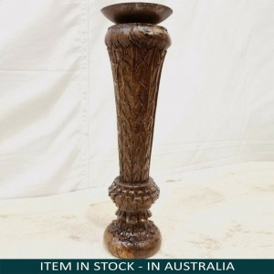 Antique Indian Pillar Leg Natural Wood Carved Vintage Candle Stand holder 33cm H