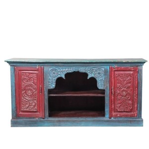 Mughal Garden Hand Carved Reclaimed Wood Tv Stand Media Console  Red & Blue