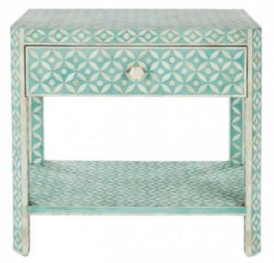 Maaya Bone Inlay Rectangular Side Table Blue Geometric