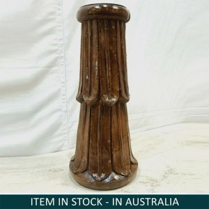 Antique Indian Pillar Leg Natural Wood Carved Vintage Candle Stand holder 39cm K