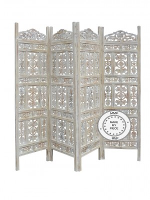 Mandala Hand Carved Indian Partition Screen Room Divider White