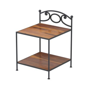 Metal Factory Industrial Iron And Solid Wood 2-Tier Side Table