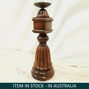 Antique Indian Pillar Leg Natural Wood Carved Vintage Candle Stand holder 42cm L