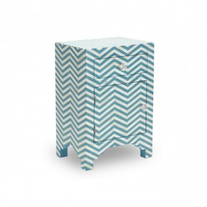Maaya Bone inlay ZigZag bedside Cabinet lamp table Blue
