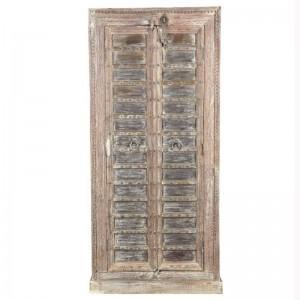 Antique Vintage 2 Doors Sideboard Solid Natural Wood Metal Doors Indian Brocante