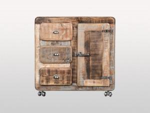 Cromer Indian Solid Wood Buffet Single Door 3 Drawer Sideboard