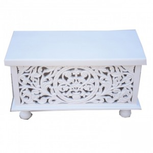 Cromer Hand Carved White blanket box trunk Coffee Table Chest