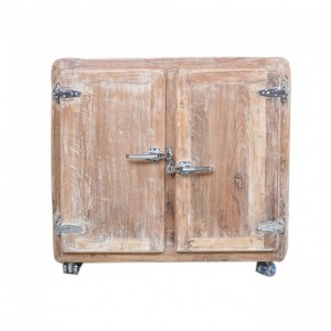 Cromer Reclaimed Wood Small Sideboard Buffet Fridge Door Cabinet Whitewash