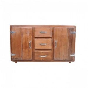 Cromer Reclaimed Wood Large Sideboard Buffet Cabinet 150cm on wheels - Honey