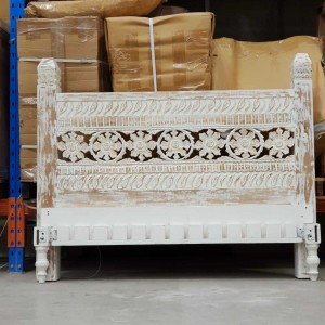 Whitewash rustic queen bedhead bed unique indian balinese white carved rustic