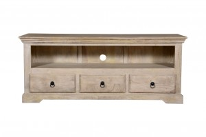 MADE TO ORDER Indian Mango Classic Wooden TV Unit White  150 x 45 x 60 Cm