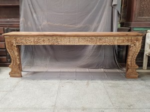 Indian Antique Tribal Beautiful Hand Carved Art Solid Wooden Console Hall Table  258x44x88cm