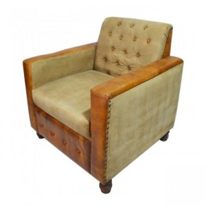 CHESTERFIELD Aged leather Couch Sofa