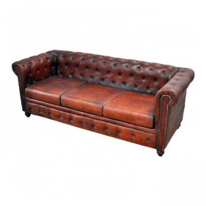 CHESTERFIELD Aged Leather 3 seater sofa