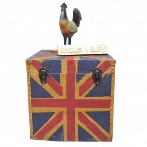 Aged Canvas Union Jack Blanket Box