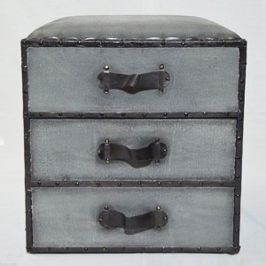 Aged Leather Grey 3 Drawer Storage Box end table