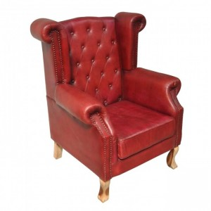 Aged Leather High Back Rest Armchair