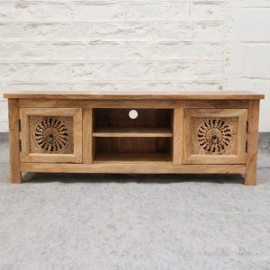 JALI handcarved solid mango wood plasma TV unit 140x40x50cm