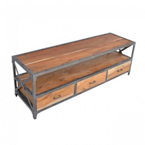 Angle Industrial Wood Metal TV UNIT