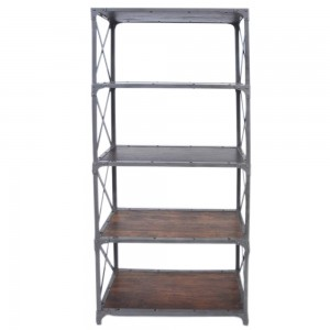 Angle Industrial Wood Metal Bookshelf