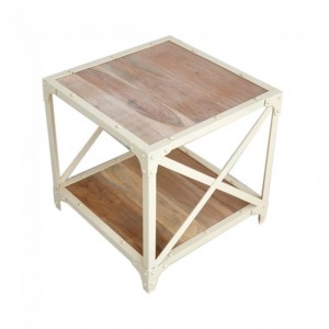 Angle Industrial French Lamp Side Table White 50x50cm