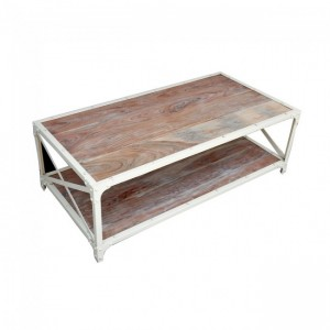 Angle Industrial French Coffee Table White 135x70cm