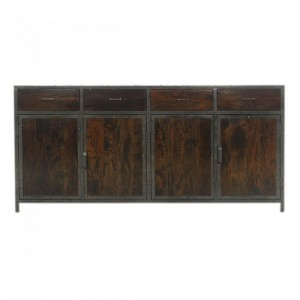 Angle Industrial French Sideboard Buffet Chocolate 180cm