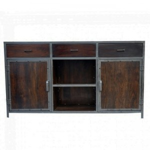 Angle Industrial French Sideboard Buffet Chocolate 150cm