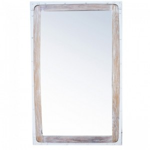 Angle Industrial Wall Bathroom Mirror Frame White 115cm