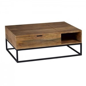 Lava Industrial Pipe Mango Coffee Table with lid storage
