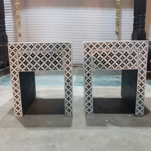 Pandora hand painted bone inlay pattern bedside tables PAIR Black white Geometrical