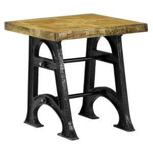 Solid Wood Rustic Parquet Cast Iron Double Base Accent End Side Table Nutte