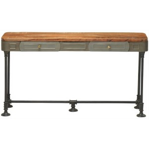 Industrial Pipe Fittings Slim 2 Drawers Sofa Console Table Steampunk