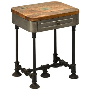 Industrial Pipe Fittings Rectangular 1 Drawer End Side Accent Table Steampunk