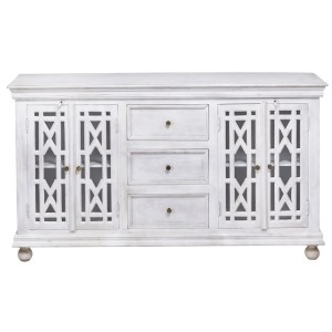 French Arched Hand Carved Wooden Glass Door Sideboard With Drawers White