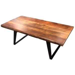 Rectangular Live Edge Mango Wood Cast Iron Base Coffee Table Zyra