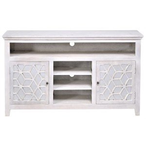 French Arched Hand Carved Indian Solid Wood Tv Unit Cabinet White