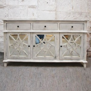 French Arched Doors Glass Backe Buffet Sideboard Whitewash 160x40x90cm