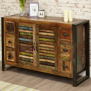 Aspen Reclaimed Wood Industrial Sideboard Buffet Hutch 120cm