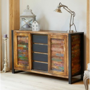 Aspen Reclaimed Wood Industrial Sideboard Buffet Hutch 140cm