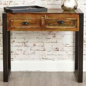 Aspen Reclaimed Wood Industrial Desk Hall Table Console 90cm