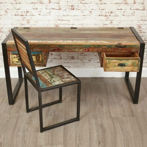 Aspen Reclaimed Wood Industrial Study Desk Hall Table 150cm